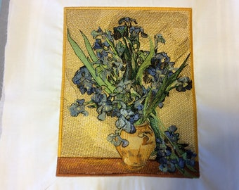 Von Gogh replica, machine embroidered, Irises bouquet in vase, custom