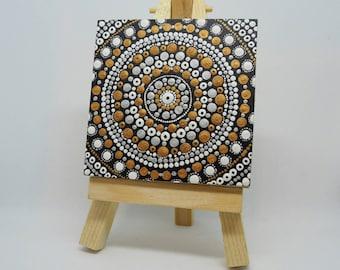 ORIGINAL Hand Painted Mini Mandala Canvas on Wood block with Mini Easel - Acrylic Painting