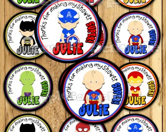 Baby Superhero Thank you tags Superhero Baby Shower sticker baby super hero Party favor tags Custom Gift tags Cupcake toppers tags PRECUT