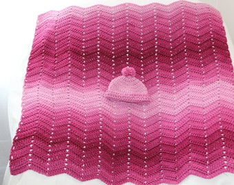 Crochet Chevron or Ripple Baby Blanket with Free Hat