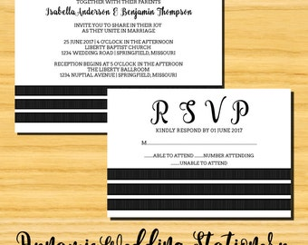 Triple Stripe DIY Digital Printable Wedding Invite and RSVP Card, Choose Text and Background Color Options