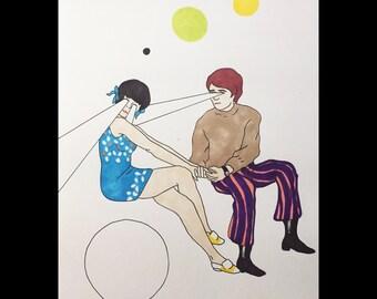 Sixties Surrealism Illustrated Pop Art Print