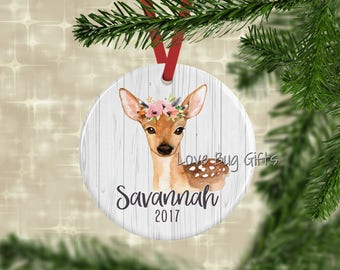 Forest Deer Personalized Ornament • Christmas ornament • Child • Dated