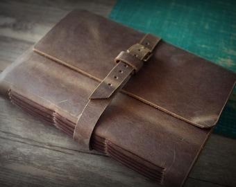Initials - Leather Photo Album, Hand Stitched Album, Leather Scrapbook Album, Rustic Album, Album for Children - 2 Color Paper Choice
