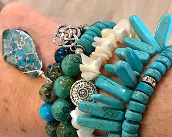 Turquoise Gem beaded Stack Bracelets For Her / Turquoise Chip Stackable Bracelets/Layer Beaded Bracelet Stacks/Stone Gem Stackable Bracelets