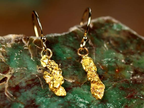 Natural Gold Nugget Jewelry Dangle Drop Earrings Real