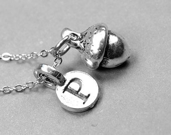 Acorn Necklace, Acorn Charm, silver plated pewter, initial necklace, initial hand stamped, personalized, monogram