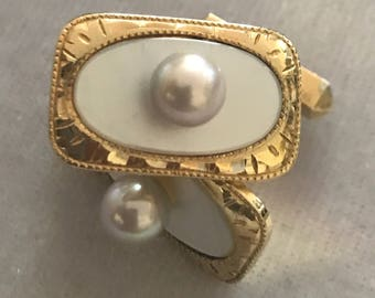 Vintage SILVER Gold Tone Mother of Pearl and Genuine Pearl Cufflinks