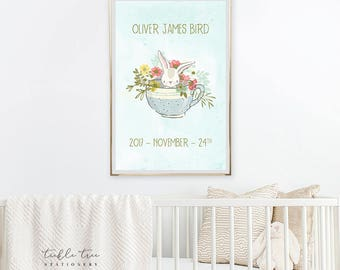 Art Print - Birth Poster, Baby Bunny & Tea Cup (W00048)