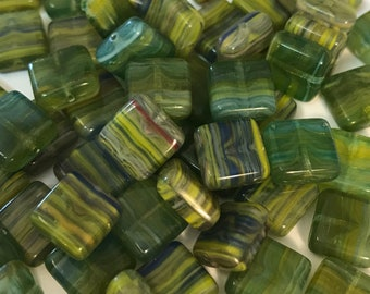 Loose Flat Square Beads, Square Hurricane Glass Beads, Czech Glass Square Beads, Multi Colored, 50PC
