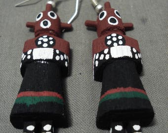 Huge And Completely Handmade 'Real Kachina Doll' Sterling Silver Earrings