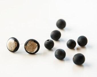 Mens Earrings, Black Stud Earrings With White Paint, Black Post Earrings, Black Gold Earring, Stud Earings For Him, Gift For Husband