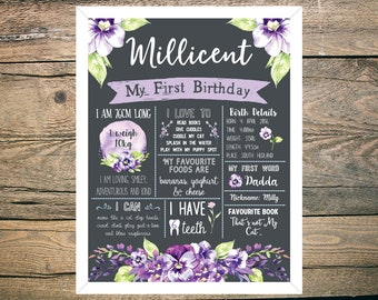 First Birthday Chalkboard Sign Poster - Girl - Digital / Printable - Floral - Pretty Flowers - Purple - Lilac - Violet