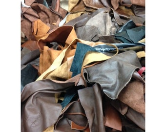 Scrap leather Upholstery Cow Hide 1 Pound Remnants, Mixed Earthtone Colors - 26618
