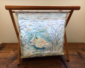 Vintage Folding Knitting Basket / Folding Fabric Basket / Swan Fabric Storage Basket / Collapsable Knitting Bag