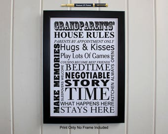 Grandparents House Rules, Black and White Print, Ideal gift for Christmas, Baby Shower Gift from the Baby to Grandparents, 206p