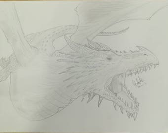 Flying Dragon Pencil Drawing