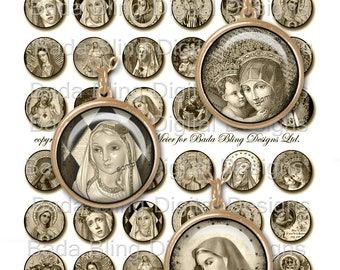 25mm circles, sepia,Antique Prayer Cards &  Holy Cards,INSTANT Download At Checkout, religious pendants, sepia collage sheets