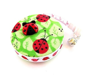 Measuring Tape Ladybugs on Lime Retractable Tape Measure