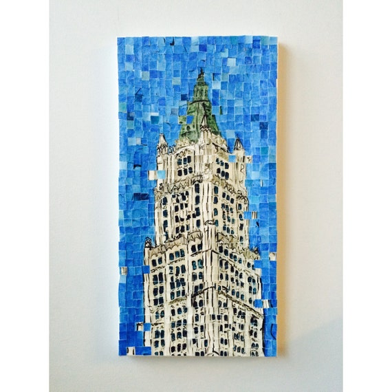 "New York City - Woolworth Building - Architectural Painting: 10""x20"" Original Painting"