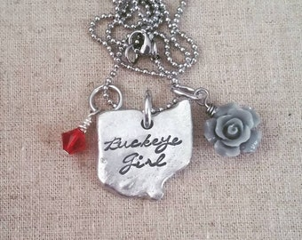 Hand Stamped Jewelry-Personalized necklace-Hand Stamped Ohio Necklace-Home Ohio Necklace-State of Ohio-Ohio Shaped Disc-Ohio Pewter-Buckeye