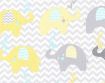 Dream Big Elephant Line on Cotton fabric