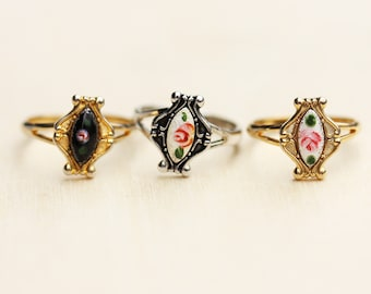 Guilloche Flower Ring, Gold Flower Ring, Silver Flower Ring, Flower Ring, Guilloche Ring, Enamel Ring, Marquise Ring, Small Vintage Ring