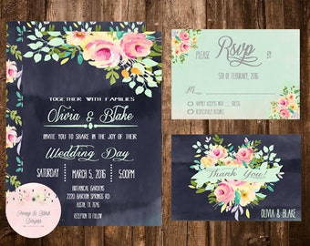 Wedding Invitation Printable Suite, Mint Wedding Invitation, Watercolor Wedding Invitation, Rustic Wedding Invitation, Chalkboard Invitation