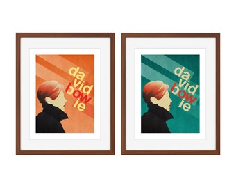 "David Bowie minimalist poster - ""Low"" - choose orange or teal!"