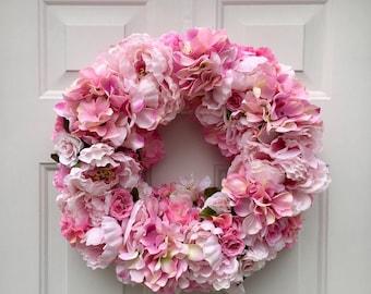 Spring front door wreath - cottage wreath - pink flower wreath - spring flower wreath - summer wreath - shabby chic wreath - housewarming