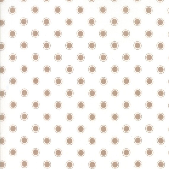 Olives Flower Garden Taupe Dot On White, Lella Boutique for Moda Quilt Fabric By The Yard 5036 15