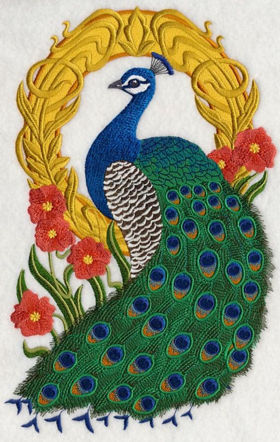 Pavo real cameo m quina bordado edred n bloque azeb for Como hacer alfombras en bordado chino