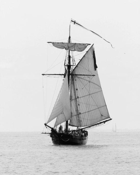 Sailboat photo print black and white ship nautical art