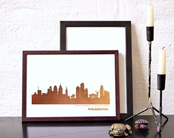 PHILADELPHIA copper Poster, PHILADELPHIA city print, Honeymoon, genuine copper skyline, hygge artwork, Philadelphia art print, wedding gifts
