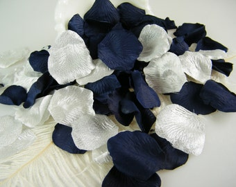 200 Navy and Silver Rose Petals - Artificial Petals - Bridal Shower Wedding Decoration - Flower Girl Petals - Table Scatter - Silk Petals