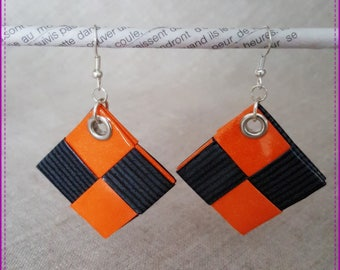 """Orange and black Duo"" pierced earrings"