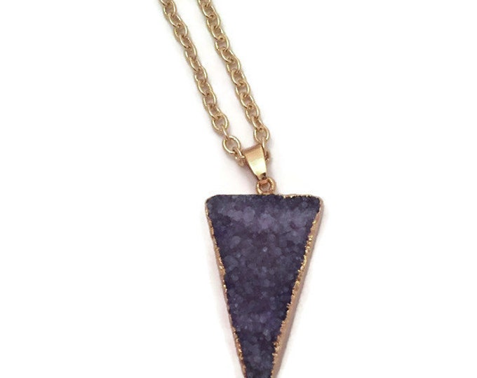 Druzy Crystal Necklace- Deep Purple Druzy Agate Necklace Pendant on a 30 inch Gold Plated Chain- Druzy Boho Crystal Necklace- Druzy Agate