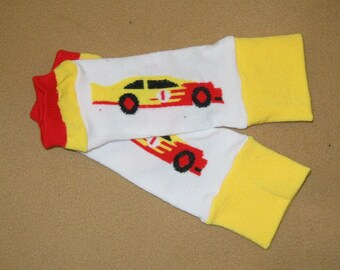Leg warmer, Infant, Newborn, Toddler- Race Car on white/yellow -infant leg warmer, newborn leg warmer, baby girl leg warmer, baby leg warmer
