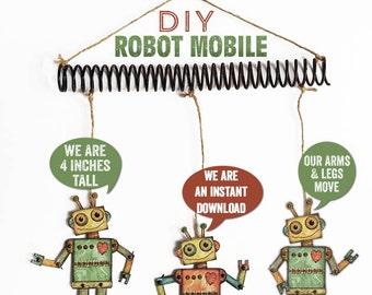 Robot printable, Robot Mobile, Mini Paper Robot Download, Jointed Robot svg, Mobile DIY, Robot pdf, Miniature Robots, Robin Davis Studio