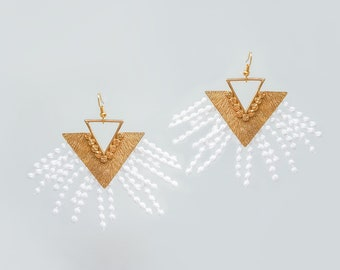 Statement Jewelry Triangle Earrings Modern Earrings Geometrical Earrings Statement Earrings Gold Earrings Lace Earrings Gift For Her/ LIVIA