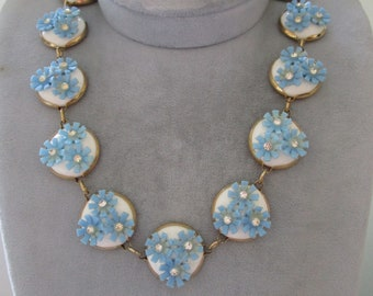 """Beautiful 16"""" Necklace with Blue Flowers"""