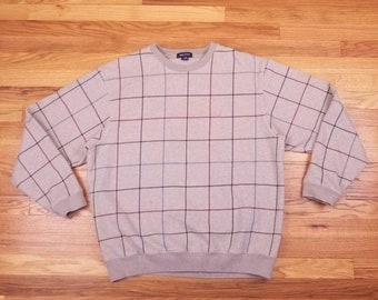 Vintage 90s Flannel Nautica Pullover Brown Sweatshirt Sweater Shirt Large L