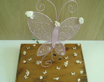 Frosted pink butterfly jewelry holder