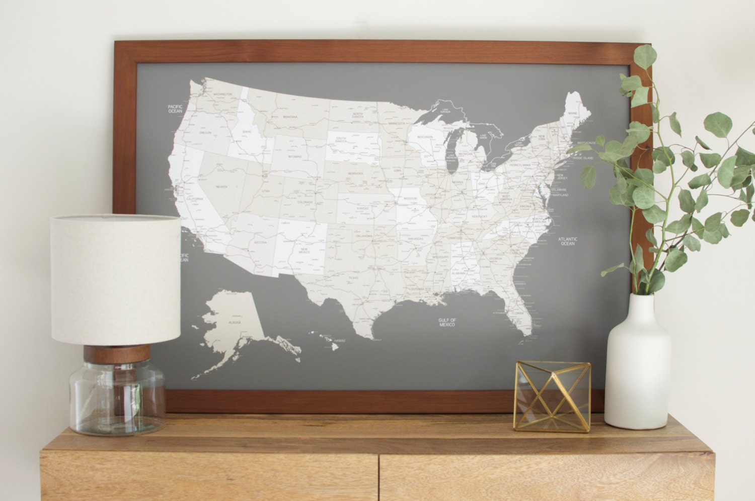 US Map Push Pin Map Art Map Of The World Travel Map Push - Framed us wall map