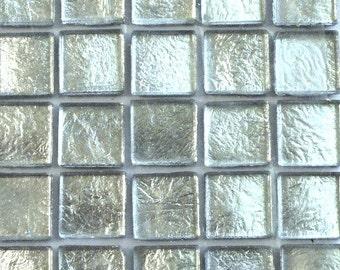 "15mm (3/5"") Silver Metallic Foil Backed Glass Mosaic Tiles//Mosaic Supplies//Craft Supplies"
