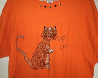 XL Fat Cat Tshirt Studded Neck w Rhinestone Cat