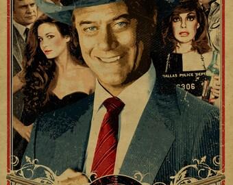 Who shot J.R.? Poster 12x18 kraft paper. Dallas cliffhanger. 1980s TV. Larry Hagman. JR Ewing. Ewing Oil. South Fork. Texas. Rich.