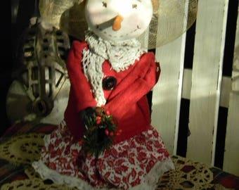 Samantha Southern Belle Snowman - Primitive Snowman - Primitive Folk Art Snowman