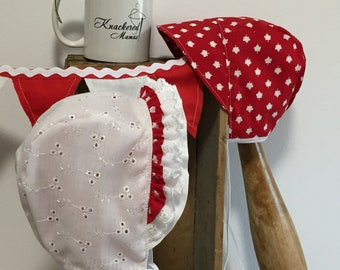 Reversible Bonnet ~ Baby Bonnet ~ Maple Leaf ~ Cotton Bonnet ~ Bonnet with Brim ~ Souvenir ~ Red Bonnet ~ Canada Day ~ Lined Bonnet ~ Sunhat