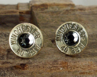 Black Diamond  - Stud Earrings - Ultra Thin - Winchester 40 S&W